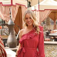 Red Polka Dot Ruffle Dress by J.M.TAIT