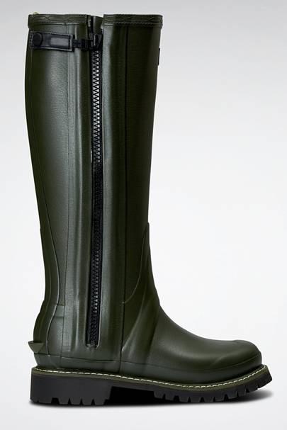 HUNTER: Green Knee-High Wellies