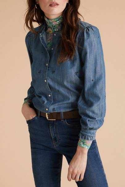 Best Denim Shirts - Floral Embroidery