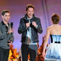 Logan Lerman, Eddie Redmayne and Emma Watson