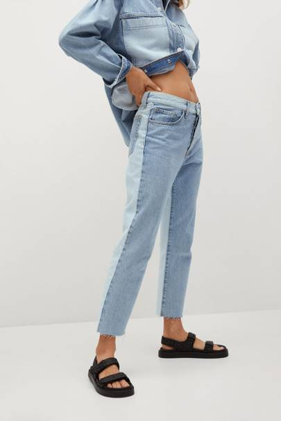 Mango Sustainable Denim Collection: the contrast panel jeans