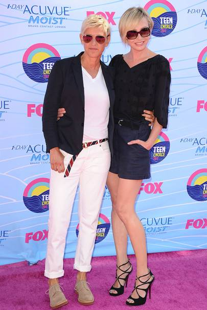 Ellen DeGeneres and Portia de Rossi at the Teen Choice Awards 2012