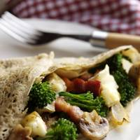 Tenderstem Galette with Lardons, Mushrooms & Brie