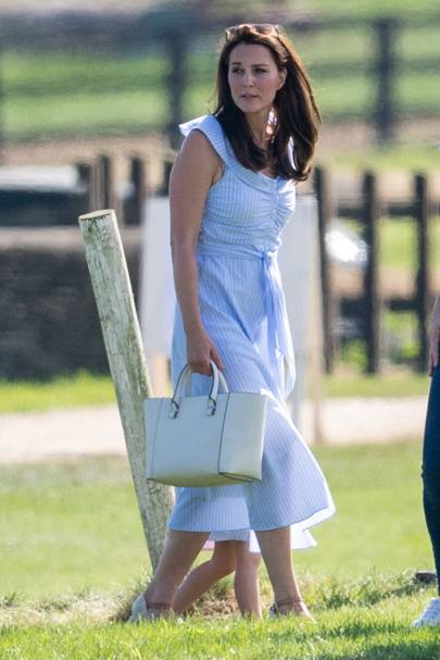 0658b8a1647 The Occasion: The Maserati Royal Charity Polo Trophy at Beaufort Polo Club  in Gloucestershire. The Outfit: A beautiful blue and whitestriped sundress  that's ...