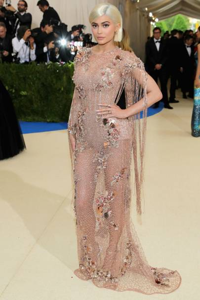 188bbc30edc Kylie opted for Versace for the 2017 Met Gala. The 19-year-old went for a  sheer dress which she teamed with a bold