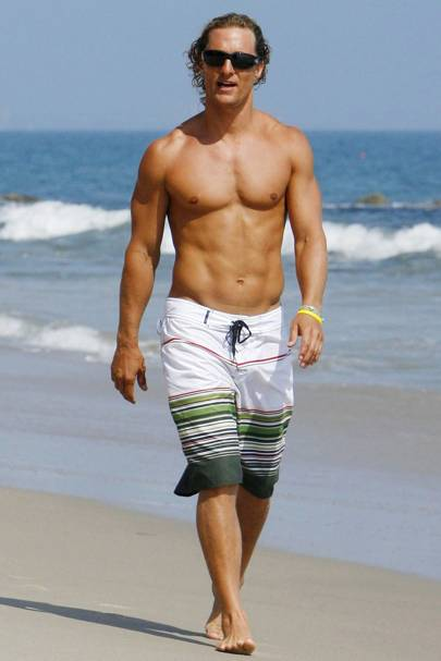 edbbe6b4e5 Matthew McConnaughey's surfer style trunks are so the kind of swim-related  attire we like on our man friend.