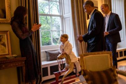 Prince George showing off his rocking horse skills