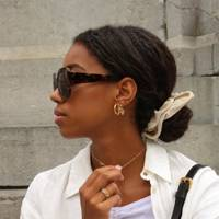 Low bun, with scrunchie