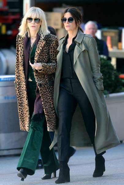 Sandra Bullock and Cate Blanchett on the set of Ocean's Eight