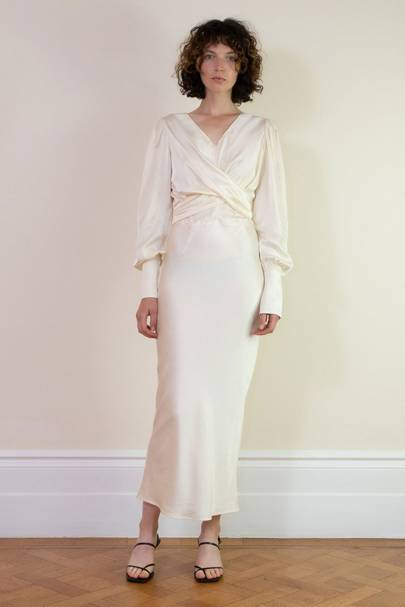 https://www.rotaro.co.uk/collections/dresses/products/marfa-ivory-tie-belt-satin-midi-dress?variant=32882348916813 Wedding Dress To Rent