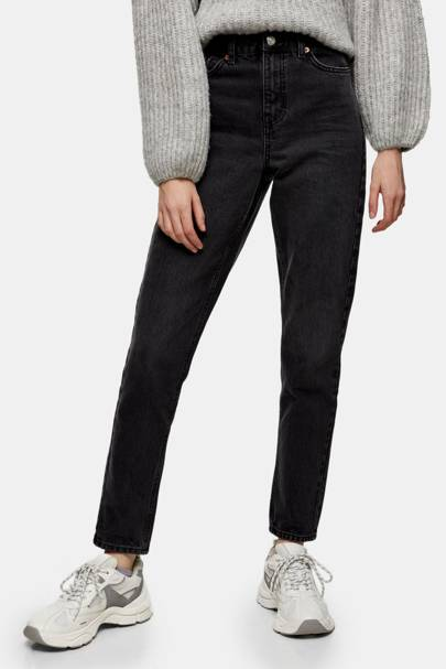 Best washed black mom jeans
