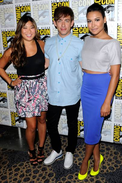 Jenna Ushkowitz, Kevin McHale and Naya Rivera at Comic-Con 2012