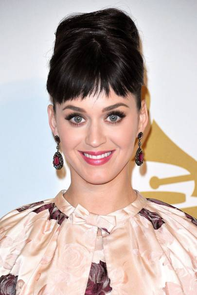 Hollywood retro hairstyles vintage celebrity hair styles modern day goddess katy perry katy whipped her raven hair into a high bun complete with cropped choppy fringe for a 60s inspired do which perfectly pmusecretfo Image collections