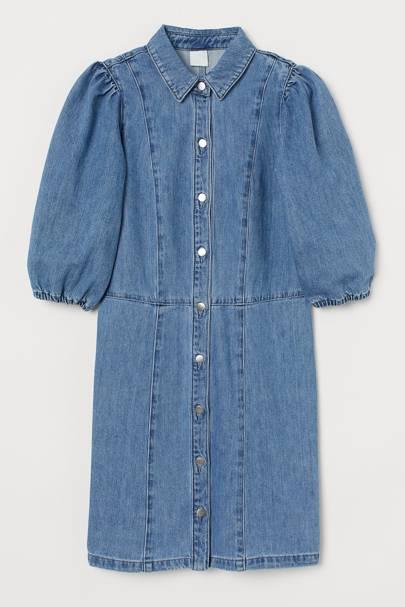 Best Denim Dresses - Puff-Sleeve