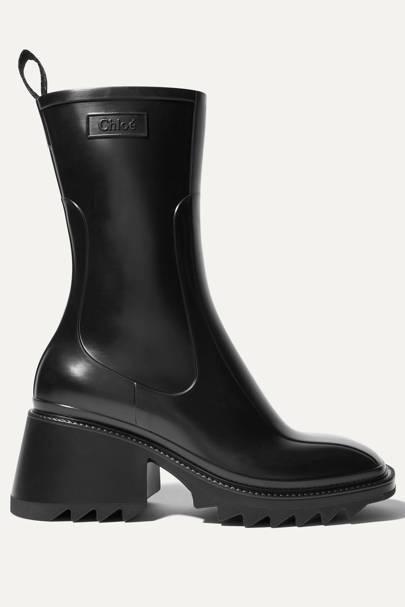 CHLOÉ: Black Rubber Boots