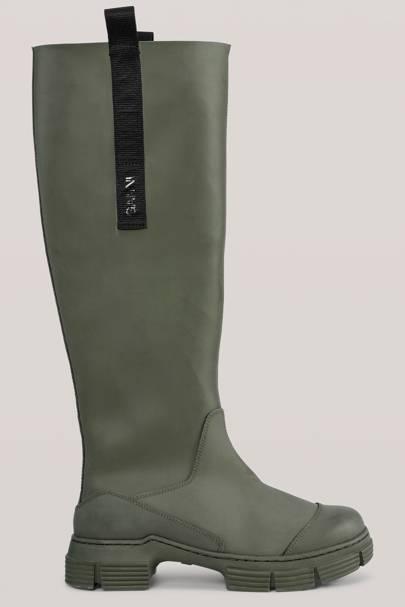 GANNI: Green Knee-High Wellies