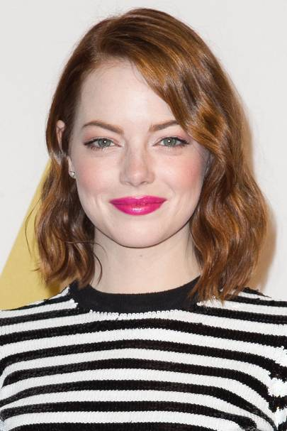 Emma Stone's hot pink lips