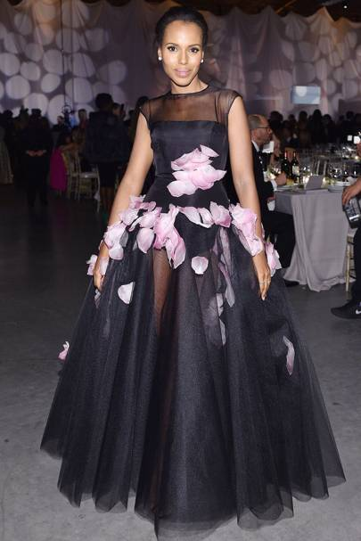 ccadb123bd4d5 Kerry went all out for a gala in California, wearing a sheer black gown  with a full skirt and pink petal detailing.