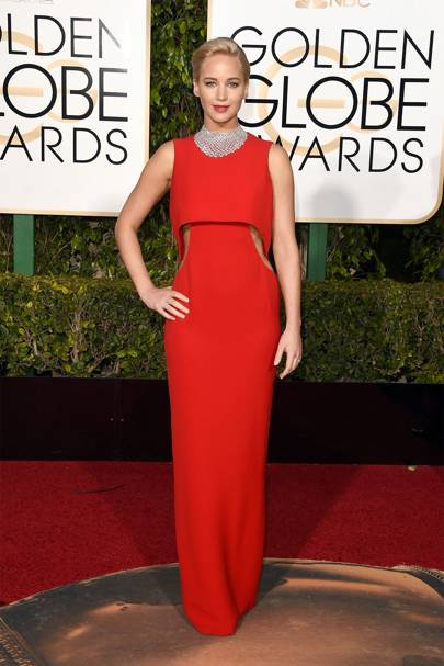 Jennifer lawrence best fashion style moments glamour uk surprise surprise jennifer lawrence opted for dior couture for the 2016 golden globe awards she teamed her red dress with sexy side cut outs with voltagebd Image collections