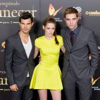 Taylor Lautner, Kristen Stewart and Robert Pattinson at the Spanish premiere of Breaking Dawn 2