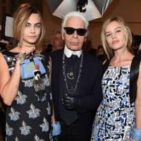Cara Delevingne, Karl Lagerfeld & Georgia May Jagger