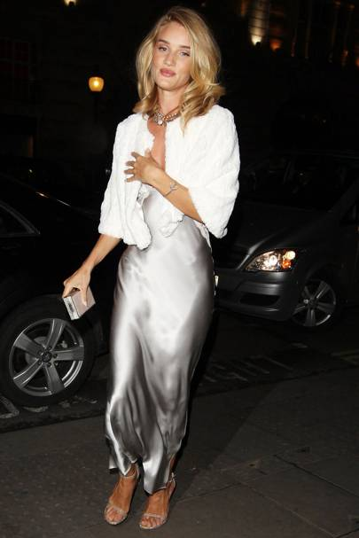 4ef8baa541525 For an evening out, Rosie was party-girl perfect in a silver slip dress and  fur stole. Rex Features. Rosie Huntington-Whiteley opted for a white ...