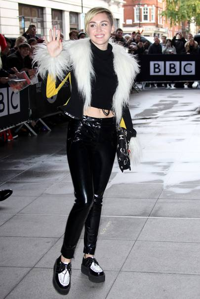 Miley Cyrus outside the Radio 1 Studios