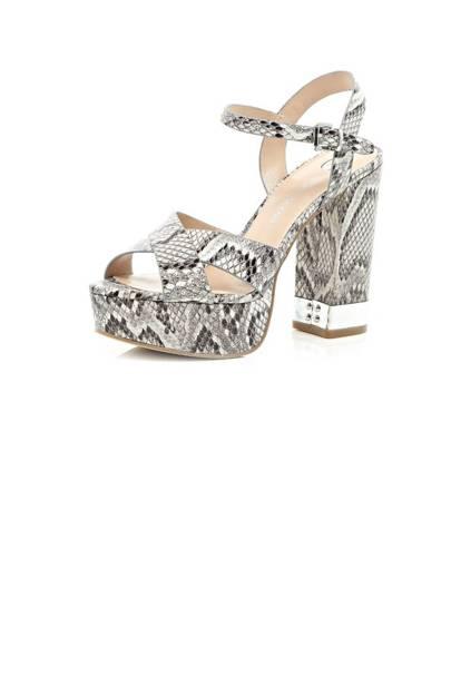 Zara Grey Snakeskin Peeptoe High Heels Shoes