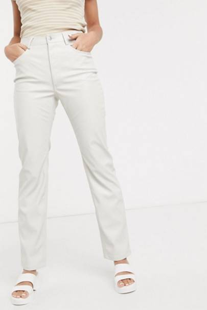 Leather trousers: the grey pair