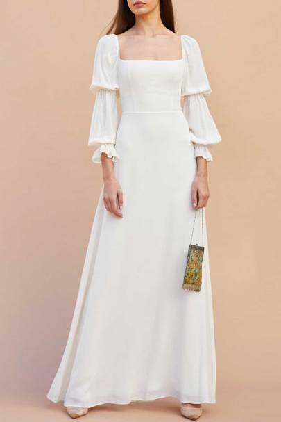 LONG-SLEEVED WEDDING DRESS: SQUARE-NECK