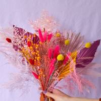 Dried ruscus, palms, craspedia, flax, bunny tails and broom bloom