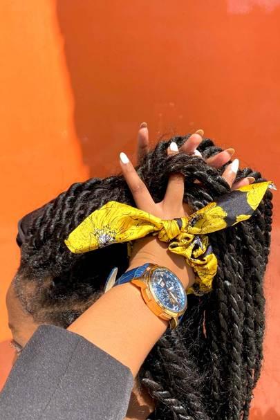 Yellow & Black Floral Print Scrunchie by Headdress UK