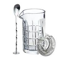 The mixing jug and Hawthorne strainer