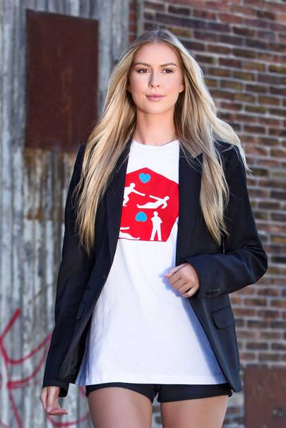Bright Red, White and Blue Art Icon oversize T-shirt by M.O.R.E.