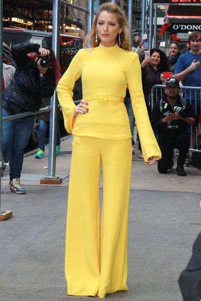 44a318af0 Another excellent yellow look from Blake Lively! For an appearance on Good  Morning America, the actress wore a banana yellow Brandon Maxwell look.