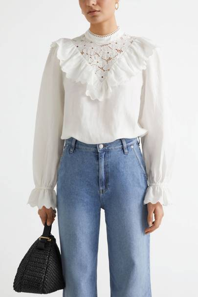 & Other Stories Sale White Frill Blouse