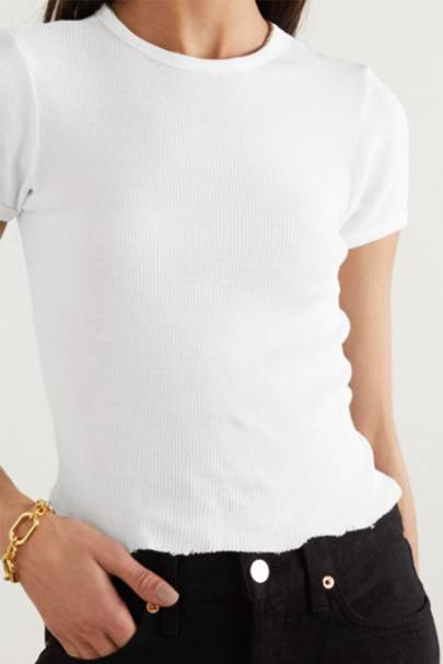 Best Ribbed Cotton White T-Shirt For Women
