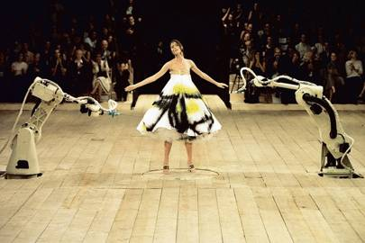 Shalom Harlow modelled the spray-painted dress