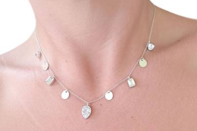 Zircon & White Topaz Necklace in Sterling Silver by Amber KRS Jewelry