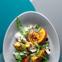 Grilled Peach, Burrata & Basil Salad With Dijon Dressing