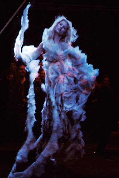 Hologram of Kate Moss at Alexander McQueen
