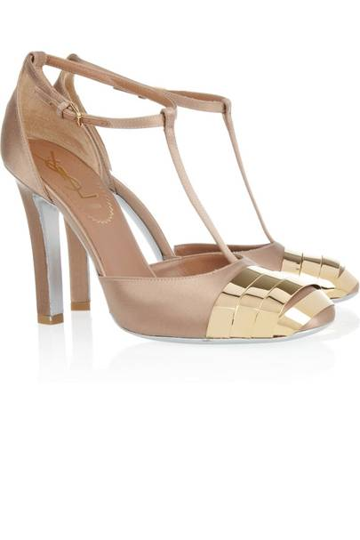 Gold T Bar Heels 735 At Ysl Top 150 Wedding Guest Outfits