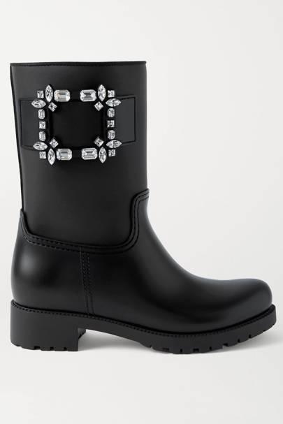 ROGER VIVIER: Black Embellished Boots