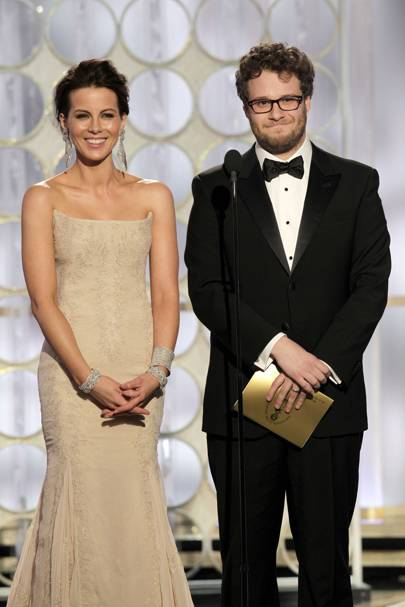 Kate Beckinsale and Seth Rogen at the Golden Globes 2012