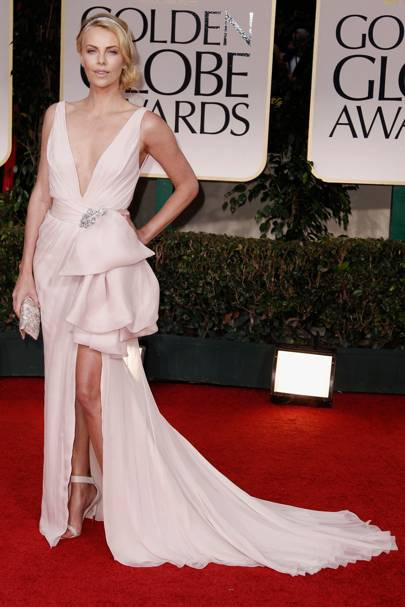 Charlize Theron at the Golden Globes 2012