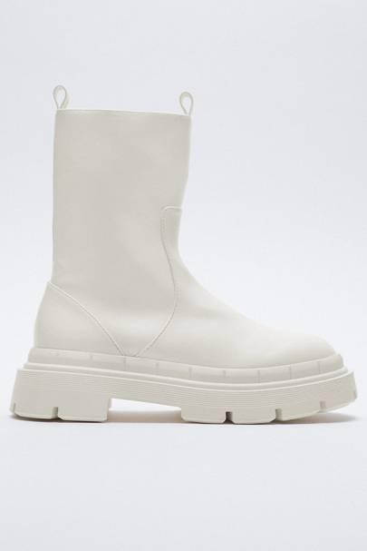 ZARA: White Ankle Boots