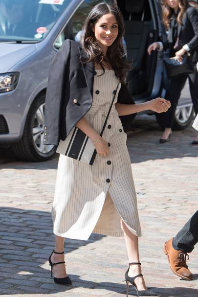 Sun's out and we finally got a glimpse of Meghan's spring style - and guys,  it is good. The first summer dress she debuted was an absolute hit and now  ...