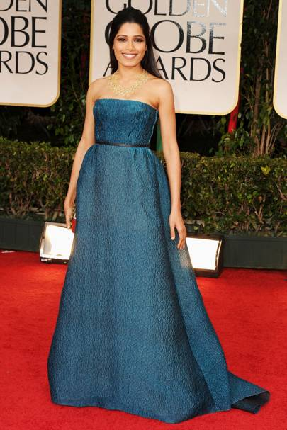 Freida Pinto at the Golden Globes 2012