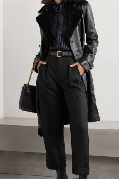 Leather coats: the shearling-trimmed coat