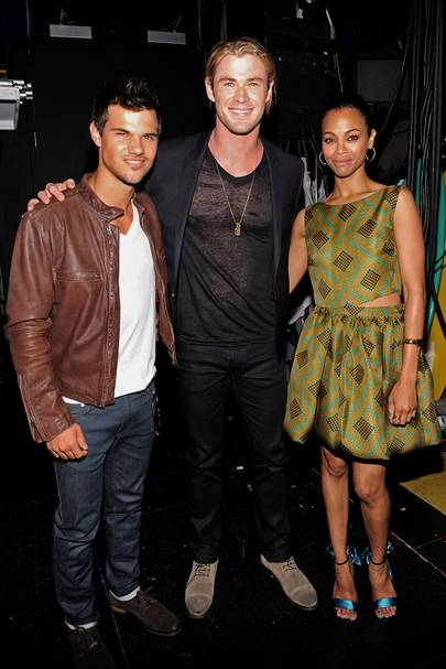 Taylor Lautner, Chris Hemsworth and Zoe Saldana at the Teen Choice Awards 2012